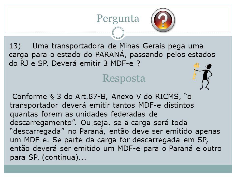 13)Uma transportadora de Minas Gerais pega uma carga para o estado do PARANÁ, passando pelos estados do RJ e SP.