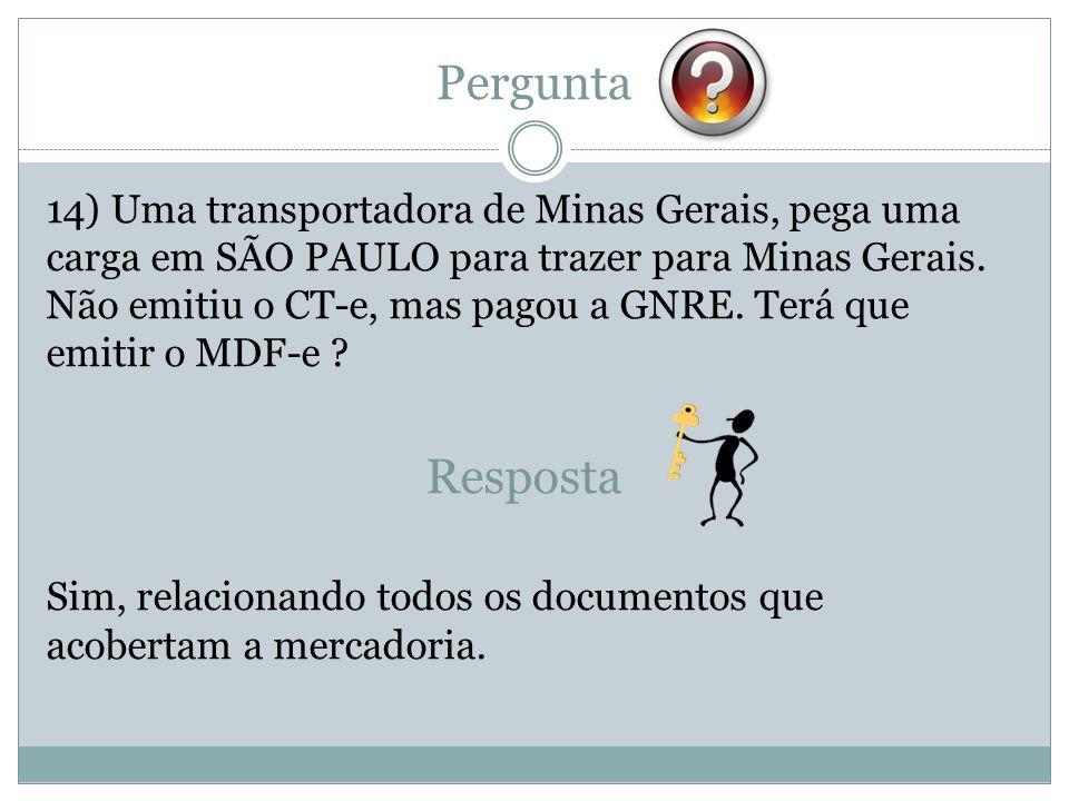Pergunta 14) Uma transportadora de Minas Gerais, pega uma carga em SÃO PAULO para trazer para Minas Gerais. Não emitiu o CT-e, mas pagou a GNRE. Terá