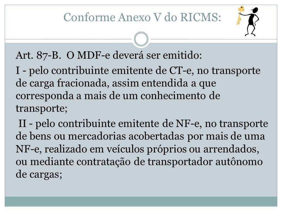 Conforme Anexo V do RICMS: Art. 87-B. O MDF-e deverá ser emitido: I - pelo contribuinte emitente de CT-e, no transporte de carga fracionada, assim ent