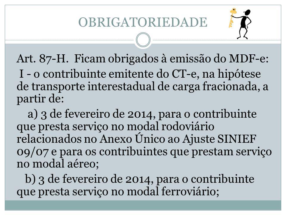 OBRIGATORIEDADE Art. 87-H. Ficam obrigados à emissão do MDF-e: I - o contribuinte emitente do CT-e, na hipótese de transporte interestadual de carga f