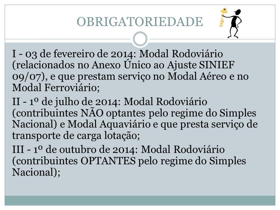 OBRIGATORIEDADE I - 03 de fevereiro de 2014: Modal Rodoviário (relacionados no Anexo Único ao Ajuste SINIEF 09/07), e que prestam serviço no Modal Aér