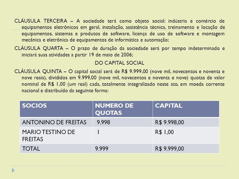 CLÁUSULA TERCEIRA – A sociedade terá como objeto social: indústria e comércio de equipamentos eletrônicos em geral, instalação, assistência técnica, t