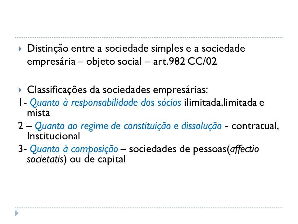 Distinção entre a sociedade simples e a sociedade empresária – objeto social – art.982 CC/02  Classificações da sociedades empresárias: 1- Quanto à