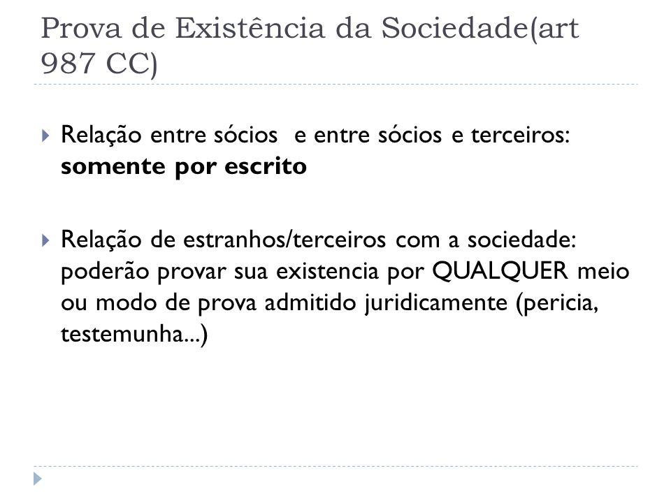 Prova de Existência da Sociedade(art 987 CC)  Relação entre sócios e entre sócios e terceiros: somente por escrito  Relação de estranhos/terceiros c