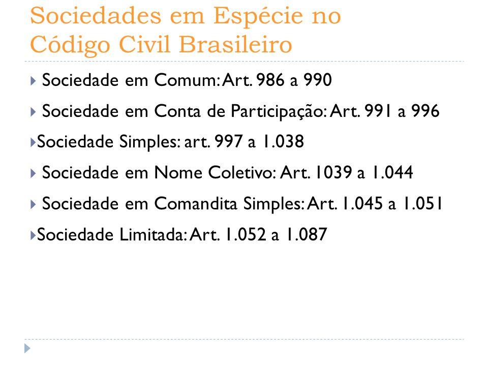 Sociedades em Espécie no Código Civil Brasileiro  Sociedade em Comum: Art. 986 a 990  Sociedade em Conta de Participação: Art. 991 a 996  Sociedade