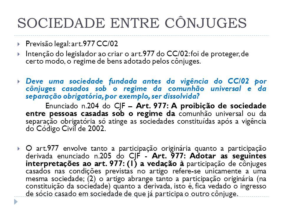 SOCIEDADE ENTRE CÔNJUGES  Previsão legal: art.977 CC/02  Intenção do legislador ao criar o art.977 do CC/02: foi de proteger, de certo modo, o regim