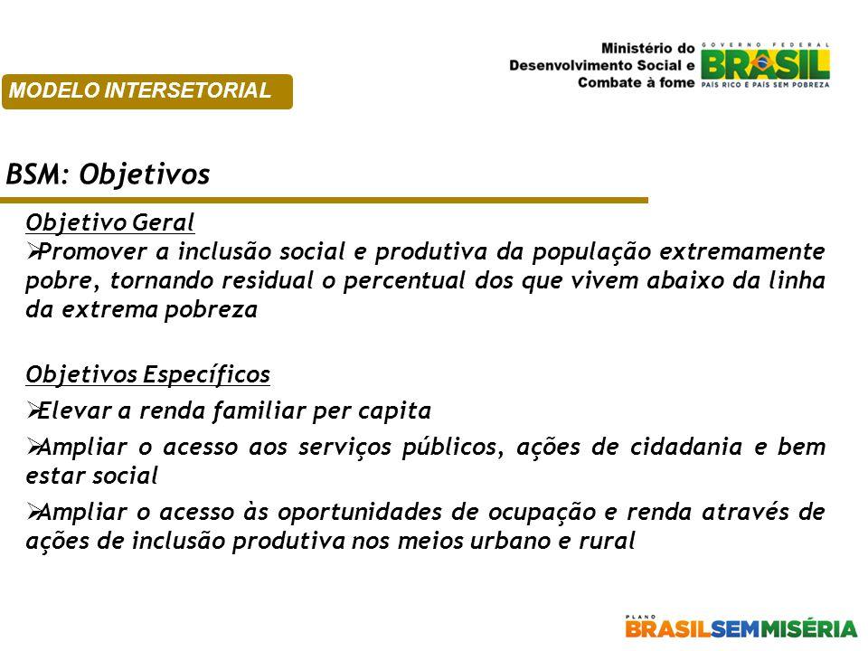 Objetivo Geral  Promover a inclusão social e produtiva da população extremamente pobre, tornando residual o percentual dos que vivem abaixo da linha