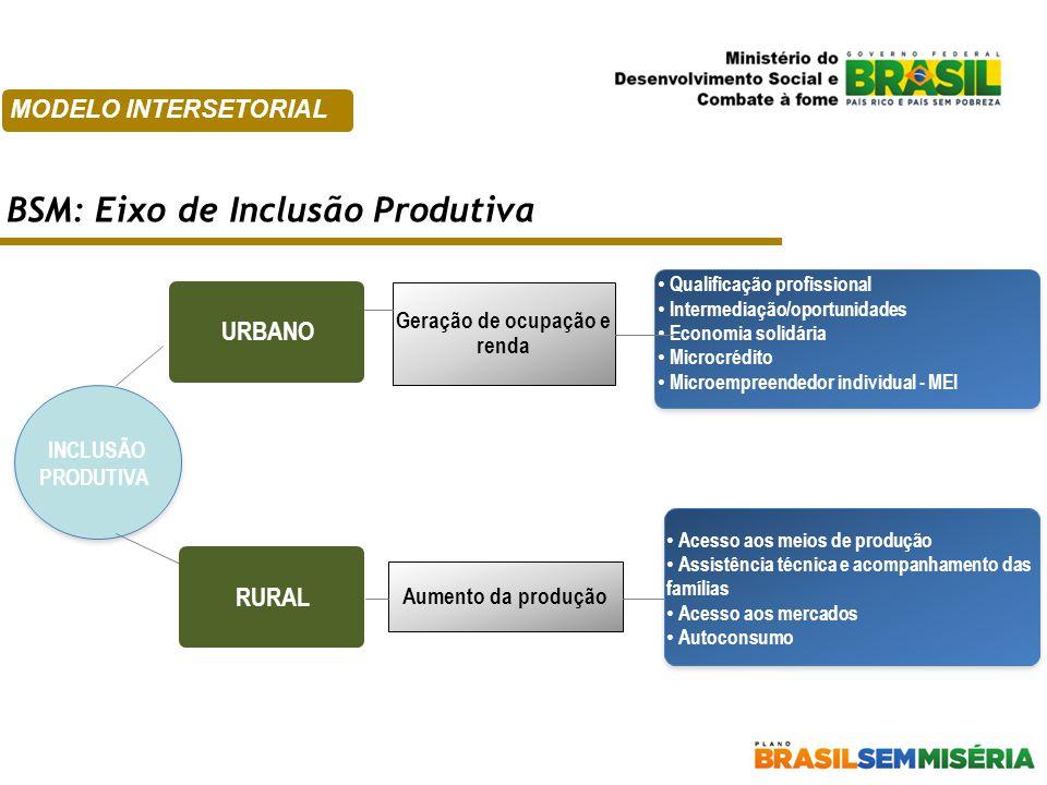 URBANO INCLUSÃO PRODUTIVA RURAL Acesso aos meios de produção Assistência técnica e acompanhamento das famílias Acesso aos mercados Autoconsumo Acesso