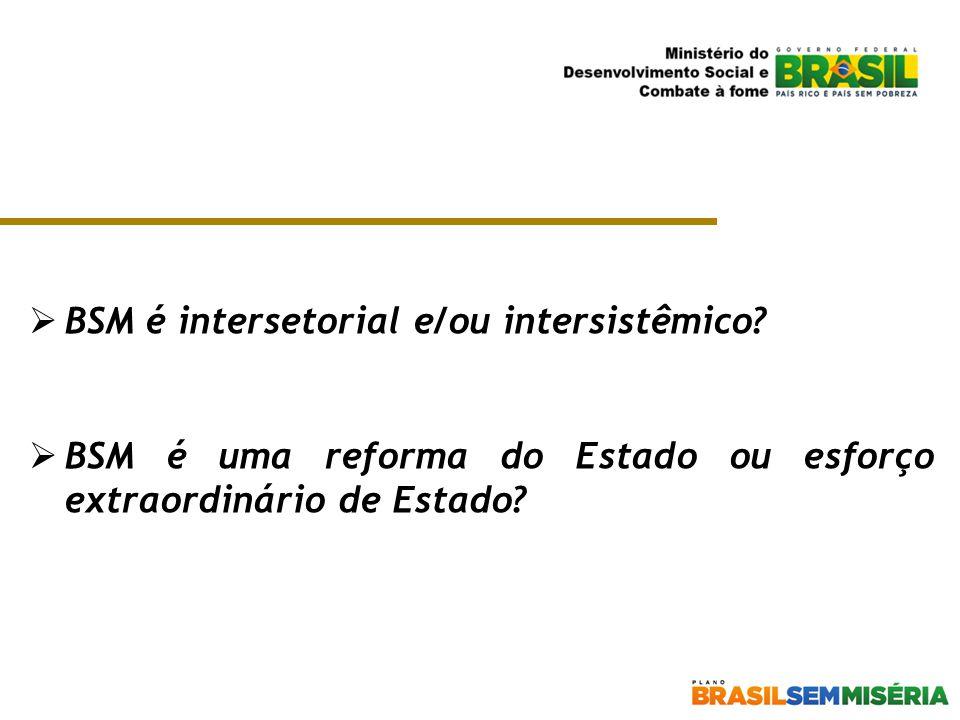 BSM é intersetorial e/ou intersistêmico?  BSM é uma reforma do Estado ou esforço extraordinário de Estado?