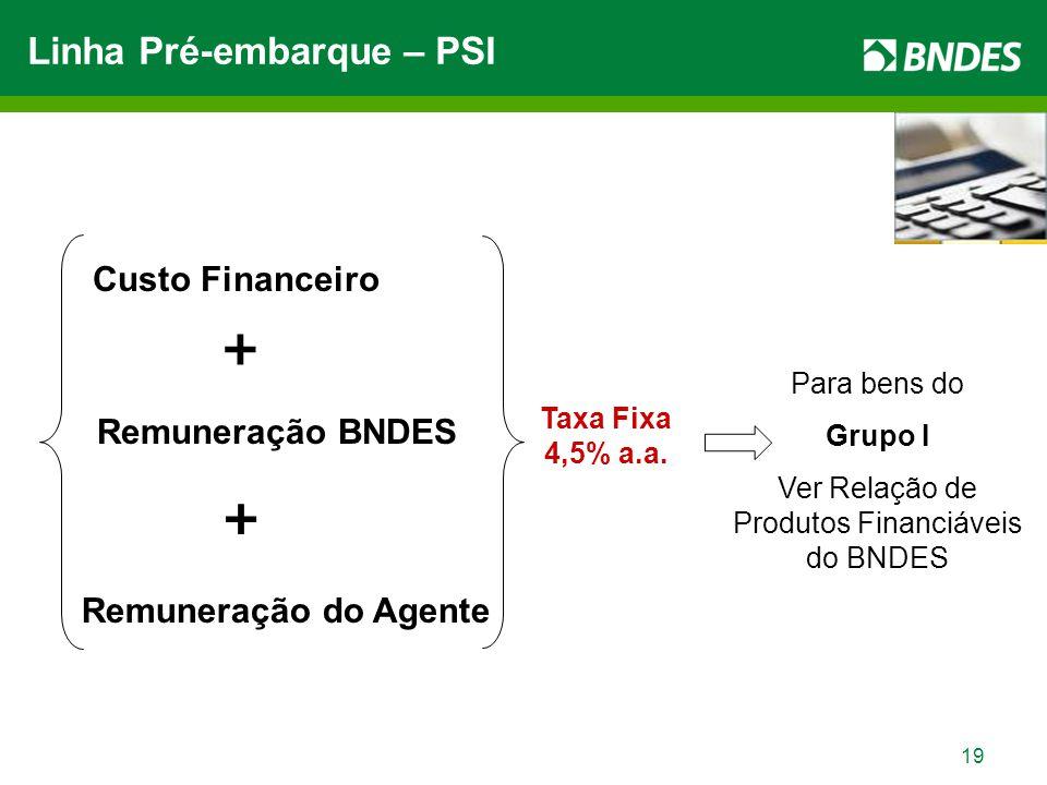 19 Linha Pré-embarque – PSI Custo Financeiro + Remuneração BNDES + Remuneração do Agente Taxa Fixa 4,5% a.a.