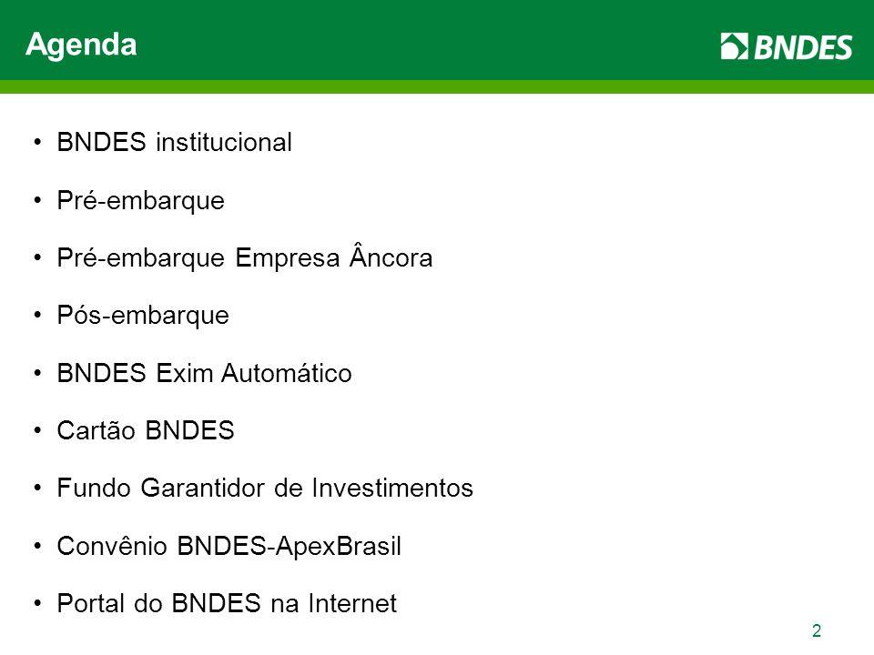 2 Agenda BNDES institucional Pré-embarque Pré-embarque Empresa Âncora Pós-embarque BNDES Exim Automático Cartão BNDES Fundo Garantidor de Investimentos Convênio BNDES-ApexBrasil Portal do BNDES na Internet
