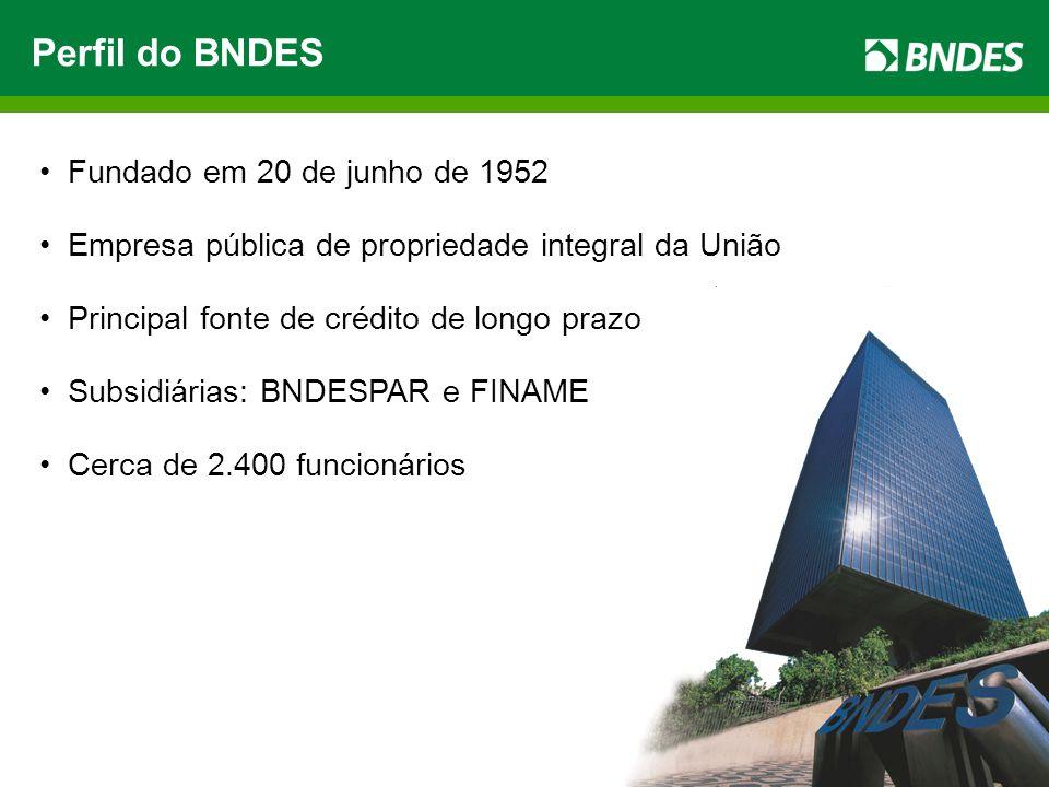 3 Perfil do BNDES Fundado em 20 de junho de 1952 Empresa pública de propriedade integral da União Principal fonte de crédito de longo prazo Subsidiárias: BNDESPAR e FINAME Cerca de 2.400 funcionários