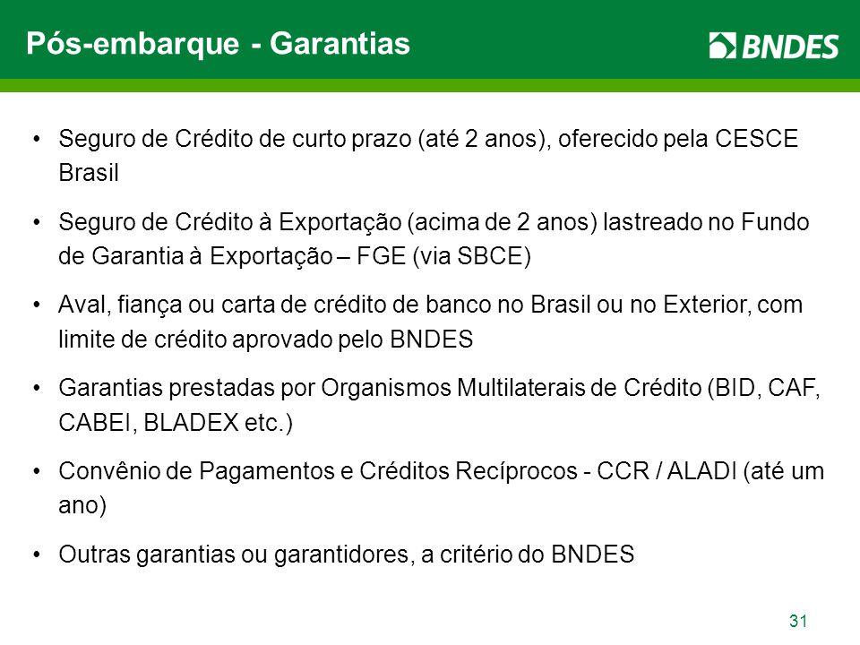 31 Seguro de Crédito de curto prazo (até 2 anos), oferecido pela CESCE Brasil Seguro de Crédito à Exportação (acima de 2 anos) lastreado no Fundo de Garantia à Exportação – FGE (via SBCE) Aval, fiança ou carta de crédito de banco no Brasil ou no Exterior, com limite de crédito aprovado pelo BNDES Garantias prestadas por Organismos Multilaterais de Crédito (BID, CAF, CABEI, BLADEX etc.) Convênio de Pagamentos e Créditos Recíprocos - CCR / ALADI (até um ano) Outras garantias ou garantidores, a critério do BNDES Pós-embarque - Garantias