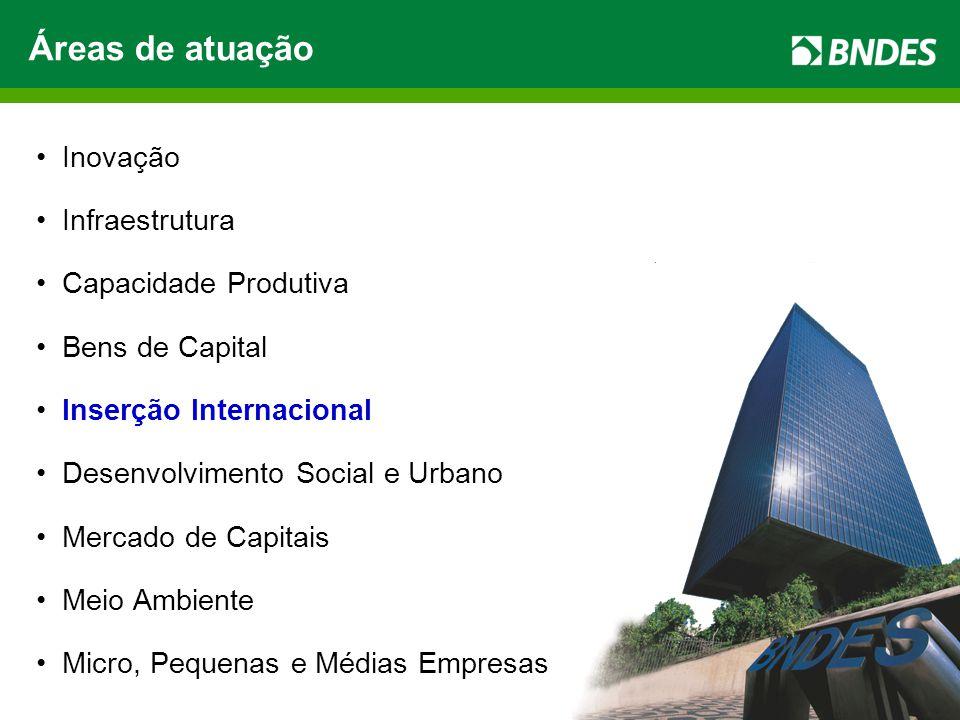 4 Inovação Infraestrutura Capacidade Produtiva Bens de Capital Inserção Internacional Desenvolvimento Social e Urbano Mercado de Capitais Meio Ambiente Micro, Pequenas e Médias Empresas Áreas de atuação
