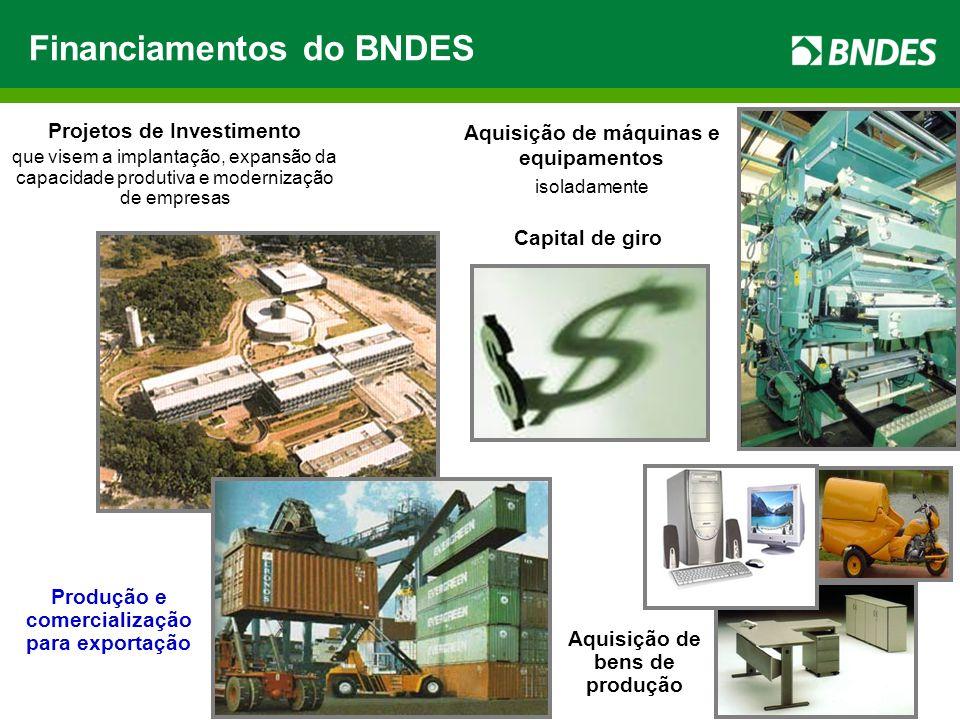6 Projetos de Investimento que visem a implantação, expansão da capacidade produtiva e modernização de empresas Aquisição de máquinas e equipamentos isoladamente Aquisição de bens de produção Produção e comercialização para exportação Capital de giro Financiamentos do BNDES