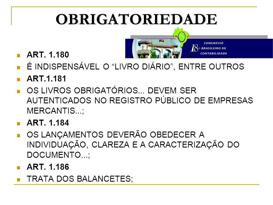 """OBRIGATORIEDADE ART. 1.180 É INDISPENSÁVEL O """"LIVRO DIÁRIO"""", ENTRE OUTROS ART.1.181 OS LIVROS OBRIGATÓRIOS... DEVEM SER AUTENTICADOS NO REGISTRO PÚBLI"""