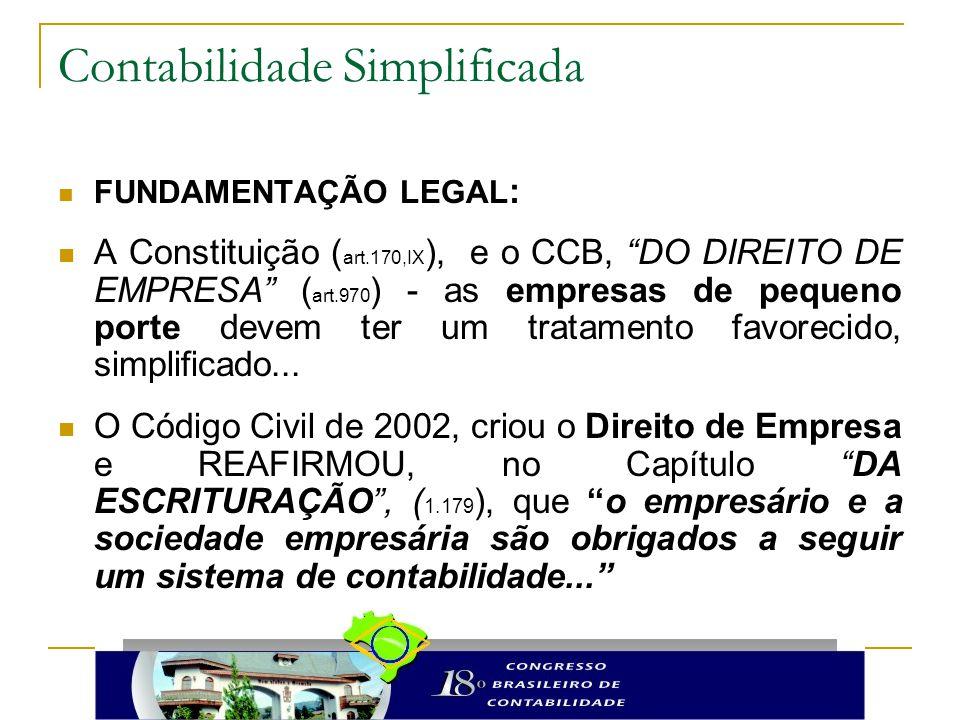 """Contabilidade Simplificada FUNDAMENTAÇÃO LEGAL : A Constituição ( art.170,IX ), e o CCB, """"DO DIREITO DE EMPRESA"""" ( art.970 ) - as empresas de pequeno"""