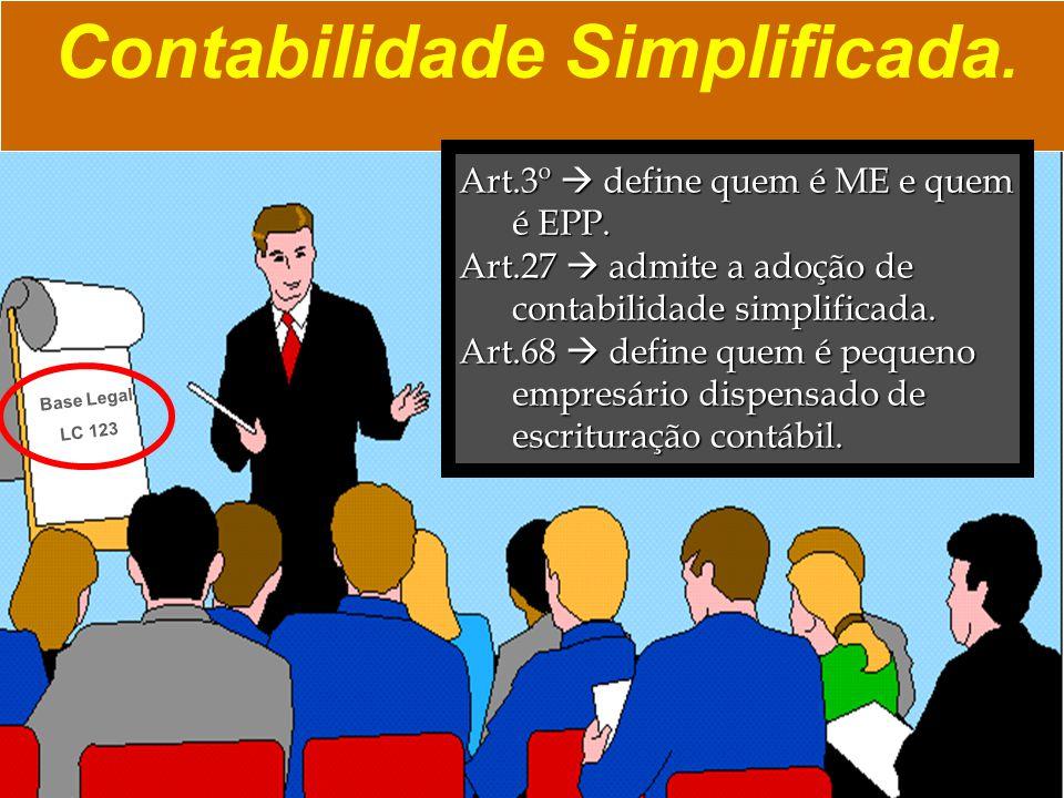 Contabilidade Simplificada. Art.3º  define quem é ME e quem é EPP. Art.27  admite a adoção de contabilidade simplificada. Art.68  define quem é peq