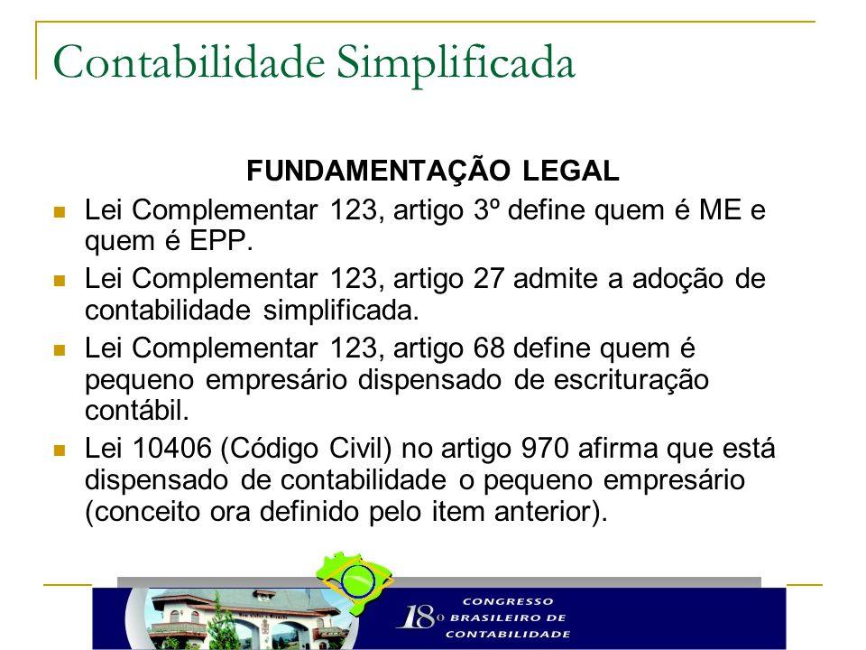 Contabilidade Simplificada FUNDAMENTAÇÃO LEGAL Lei Complementar 123, artigo 3º define quem é ME e quem é EPP. Lei Complementar 123, artigo 27 admite a