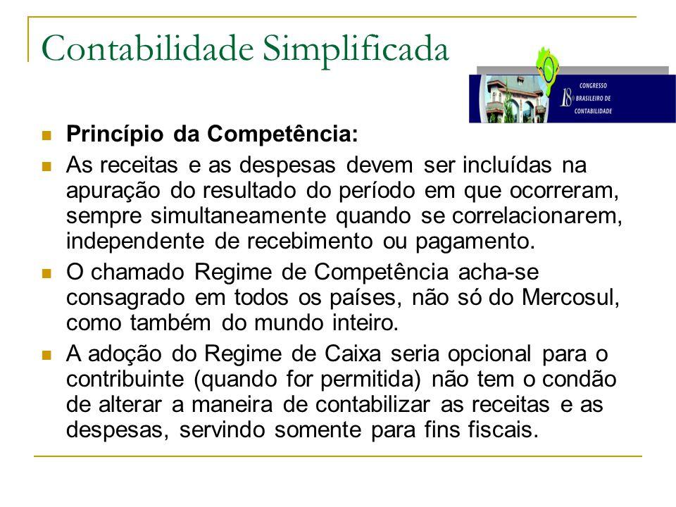 Contabilidade Simplificada Princípio da Competência: As receitas e as despesas devem ser incluídas na apuração do resultado do período em que ocorreram, sempre simultaneamente quando se correlacionarem, independente de recebimento ou pagamento.