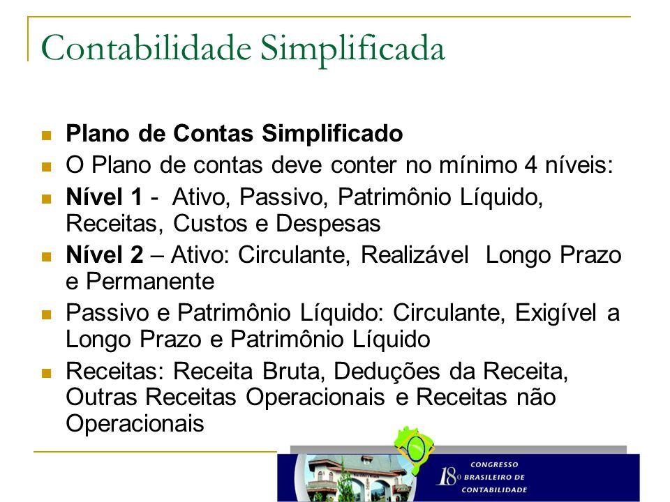 Contabilidade Simplificada Plano de Contas Simplificado O Plano de contas deve conter no mínimo 4 níveis: Nível 1 - Ativo, Passivo, Patrimônio Líquido
