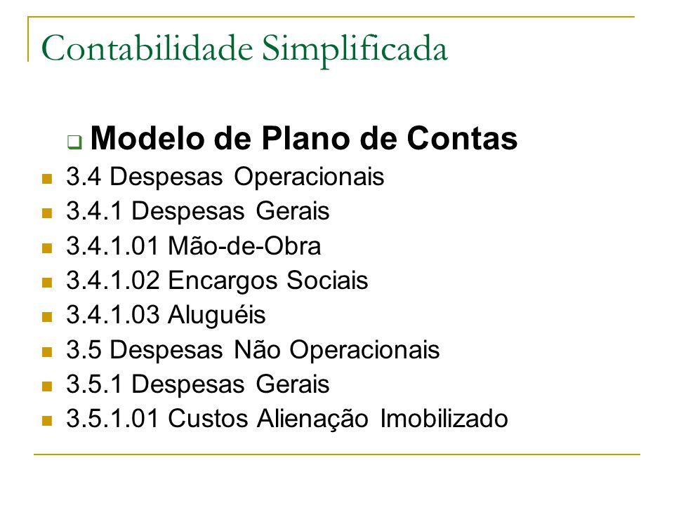 Contabilidade Simplificada  Modelo de Plano de Contas 3.4 Despesas Operacionais 3.4.1 Despesas Gerais 3.4.1.01 Mão-de-Obra 3.4.1.02 Encargos Sociais 3.4.1.03 Aluguéis 3.5 Despesas Não Operacionais 3.5.1 Despesas Gerais 3.5.1.01 Custos Alienação Imobilizado