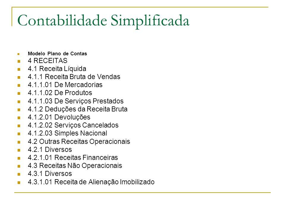 Contabilidade Simplificada Modelo Plano de Contas 4 RECEITAS 4.1 Receita Líquida 4.1.1 Receita Bruta de Vendas 4.1.1.01 De Mercadorias 4.1.1.02 De Pro