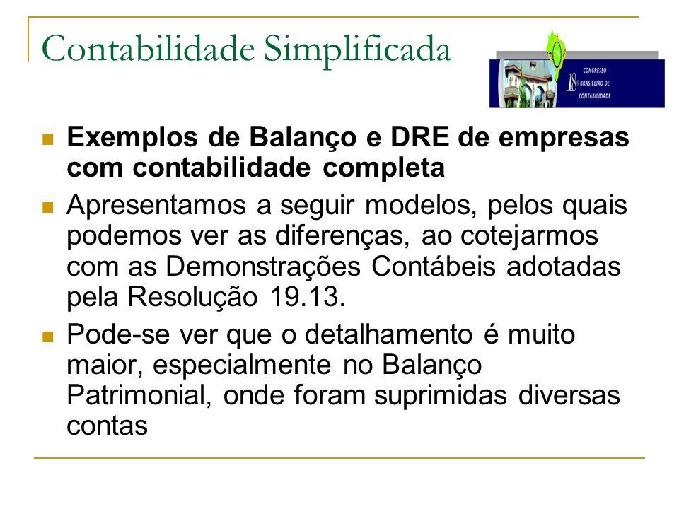 Contabilidade Simplificada Exemplos de Balanço e DRE de empresas com contabilidade completa Apresentamos a seguir modelos, pelos quais podemos ver as diferenças, ao cotejarmos com as Demonstrações Contábeis adotadas pela Resolução 19.13.