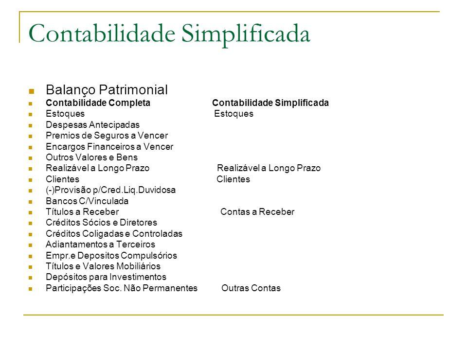 Contabilidade Simplificada Balanço Patrimonial Contabilidade Completa Contabilidade Simplificada Estoques Estoques Despesas Antecipadas Premios de Seg