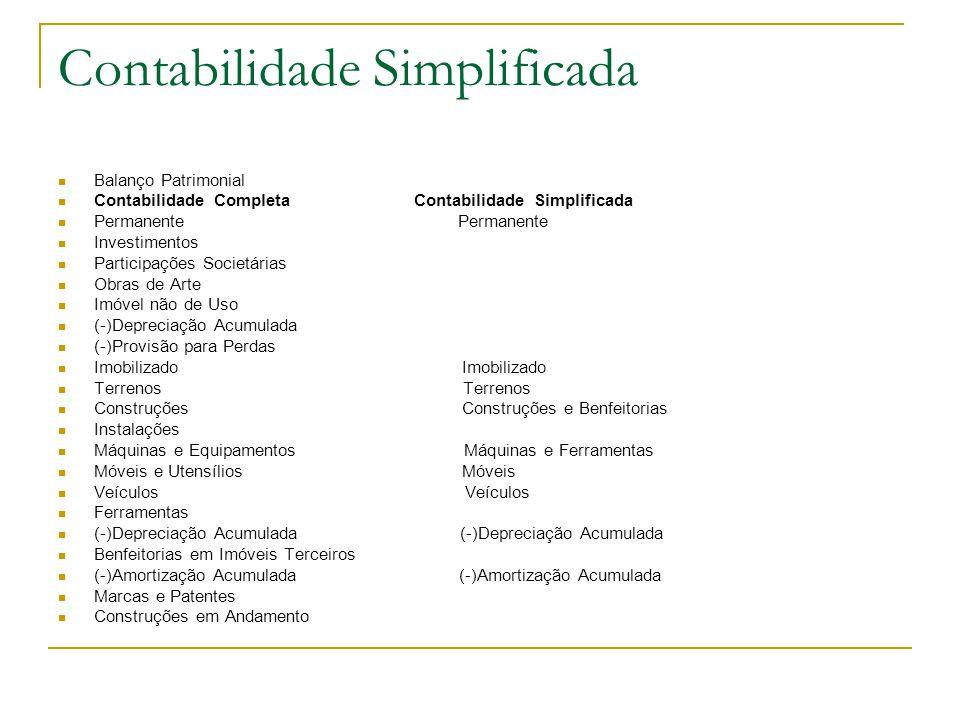 Contabilidade Simplificada Balanço Patrimonial Contabilidade Completa Contabilidade Simplificada Permanente Permanente Investimentos Participações Soc