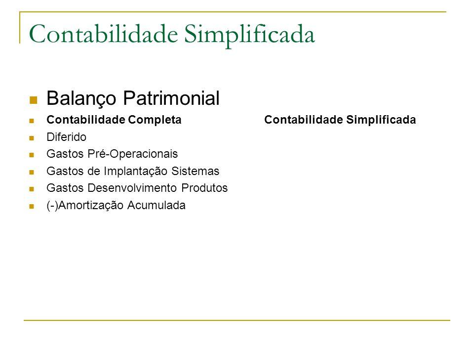 Contabilidade Simplificada Balanço Patrimonial Contabilidade Completa Contabilidade Simplificada Diferido Gastos Pré-Operacionais Gastos de Implantação Sistemas Gastos Desenvolvimento Produtos (-)Amortização Acumulada