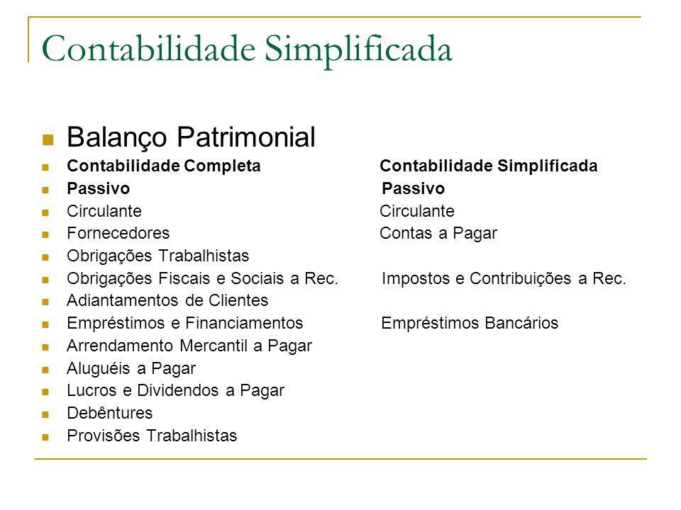 Contabilidade Simplificada Balanço Patrimonial Contabilidade Completa Contabilidade Simplificada Passivo Passivo Circulante Circulante Fornecedores Co