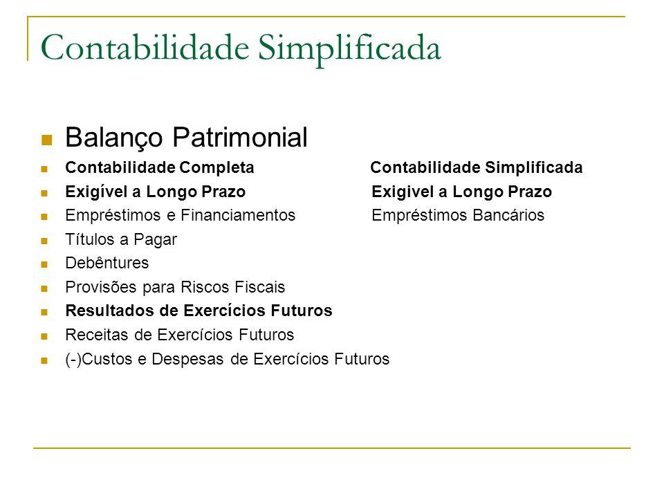 Contabilidade Simplificada Balanço Patrimonial Contabilidade Completa Contabilidade Simplificada Exigível a Longo Prazo Exigivel a Longo Prazo Empréstimos e Financiamentos Empréstimos Bancários Títulos a Pagar Debêntures Provisões para Riscos Fiscais Resultados de Exercícios Futuros Receitas de Exercícios Futuros (-)Custos e Despesas de Exercícios Futuros