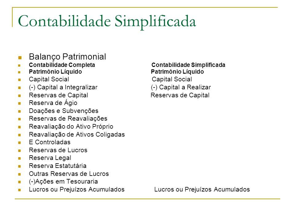 Contabilidade Simplificada Balanço Patrimonial Contabilidade Completa Contabilidade Simplificada Patrimônio Líquido Patrimônio Líquido Capital Social