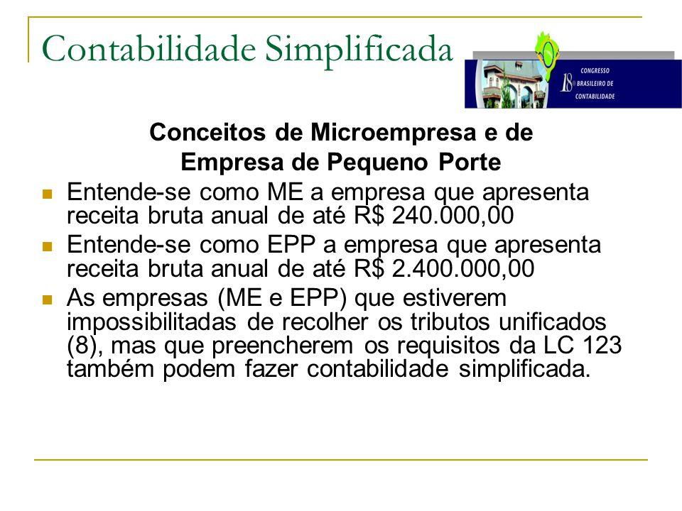 Contabilidade Simplificada Conceitos de Microempresa e de Empresa de Pequeno Porte Entende-se como ME a empresa que apresenta receita bruta anual de a