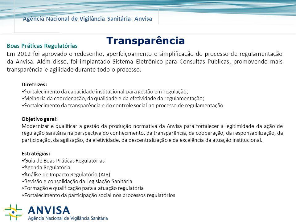Agência Nacional de Vigilância Sanitária Anvisa Boas Práticas Regulatórias Em 2012 foi aprovado o redesenho, aperfeiçoamento e simplificação do proces