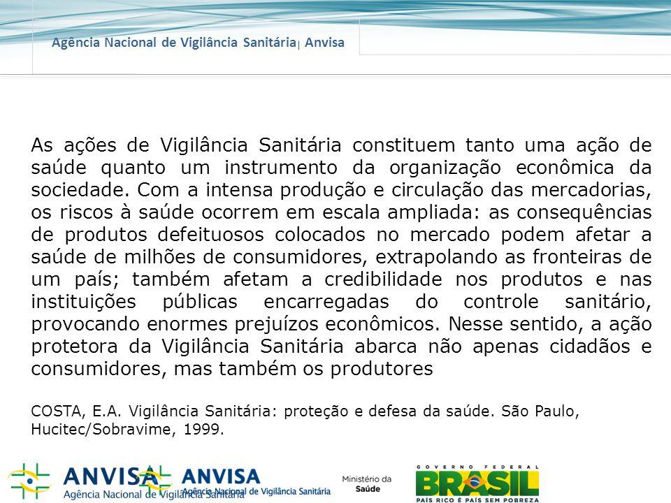 Agência Nacional de Vigilância Sanitária Anvisa As ações de Vigilância Sanitária constituem tanto uma ação de saúde quanto um instrumento da organizaç