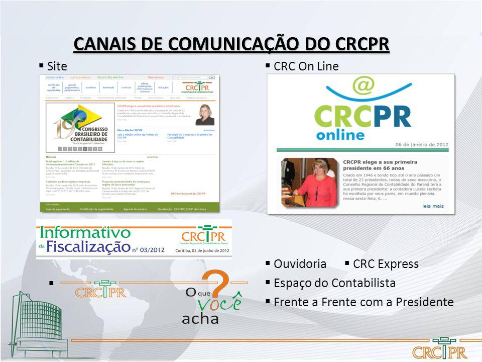 CANAIS DE COMUNICAÇÃO DO CRCPR  Frente a Frente com a Presidente  Espaço do Contabilista  CRC Express  Ouvidoria  Site  CRC On Line 
