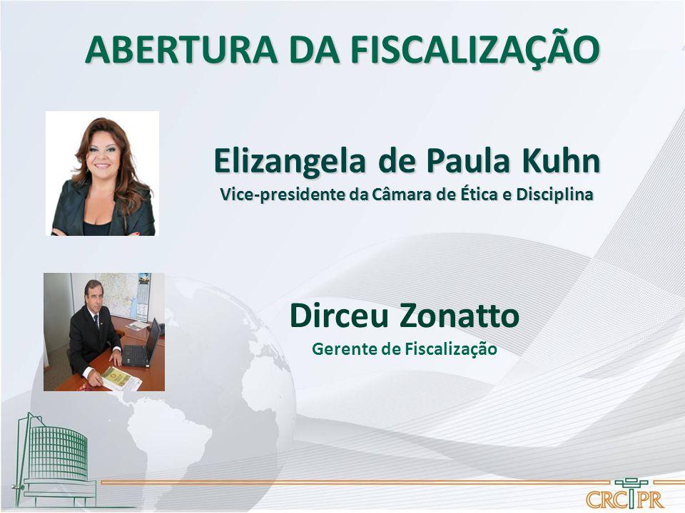 ABERTURA DA FISCALIZAÇÃO Dirceu Zonatto Gerente de Fiscalização Elizangela de Paula Kuhn Vice-presidente da Câmara de Ética e Disciplina