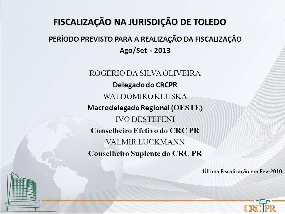 FISCALIZAÇÃO NA JURISDIÇÃO DE TOLEDO PERÍODO PREVISTO PARA A REALIZAÇÃO DA FISCALIZAÇÃO Ago/Set - 2013 ROGERIO DA SILVA OLIVEIRA Delegado do CRCPR WALDOMIRO KLUSKA Macrodelegado Regional ( OESTE) IVO DESTEFENI Conselheiro Efetivo do CRC PR VALMIR LUCKMANN Conselheiro Suplente do CRC PR Última Fiscalização em Fev-2010