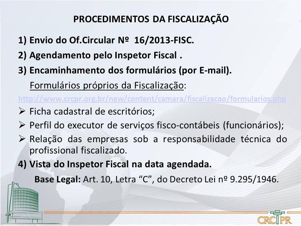 PROCEDIMENTOS DA FISCALIZAÇÃO 1)Envio do Of.Circular Nº 16/2013-FISC. 2)Agendamento pelo Inspetor Fiscal. 3)Encaminhamento dos formulários (por E-mail