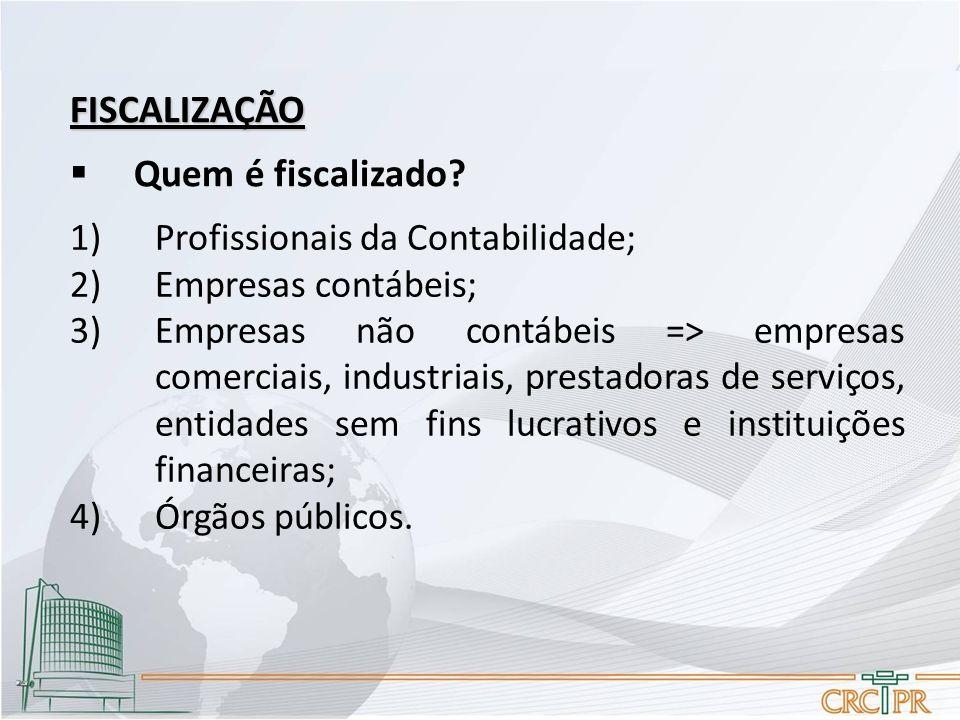 FISCALIZAÇÃO  Quem é fiscalizado? 1)Profissionais da Contabilidade; 2)Empresas contábeis; 3)Empresas não contábeis => empresas comerciais, industriai