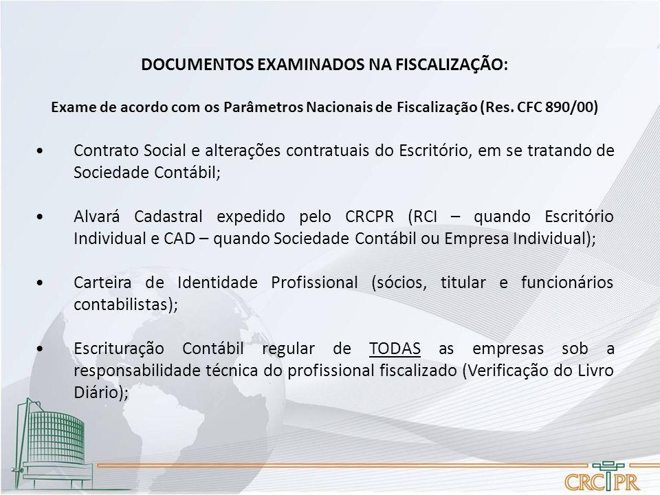 DOCUMENTOS EXAMINADOS NA FISCALIZAÇÃO: Exame de acordo com os Parâmetros Nacionais de Fiscalização (Res. CFC 890/00) Contrato Social e alterações cont