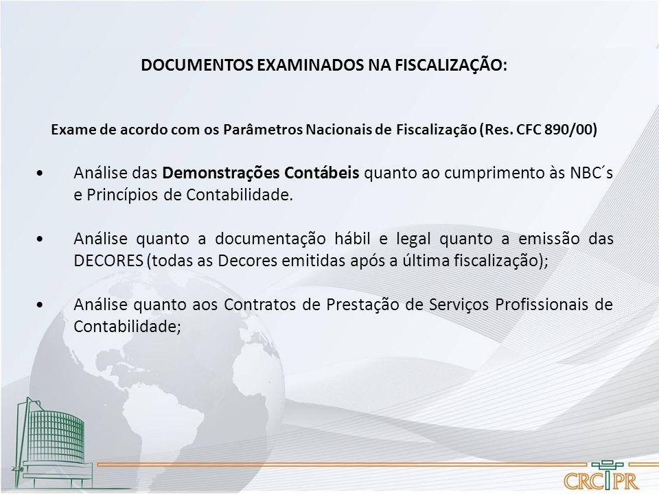 DOCUMENTOS EXAMINADOS NA FISCALIZAÇÃO: Exame de acordo com os Parâmetros Nacionais de Fiscalização (Res. CFC 890/00) Análise das Demonstrações Contábe
