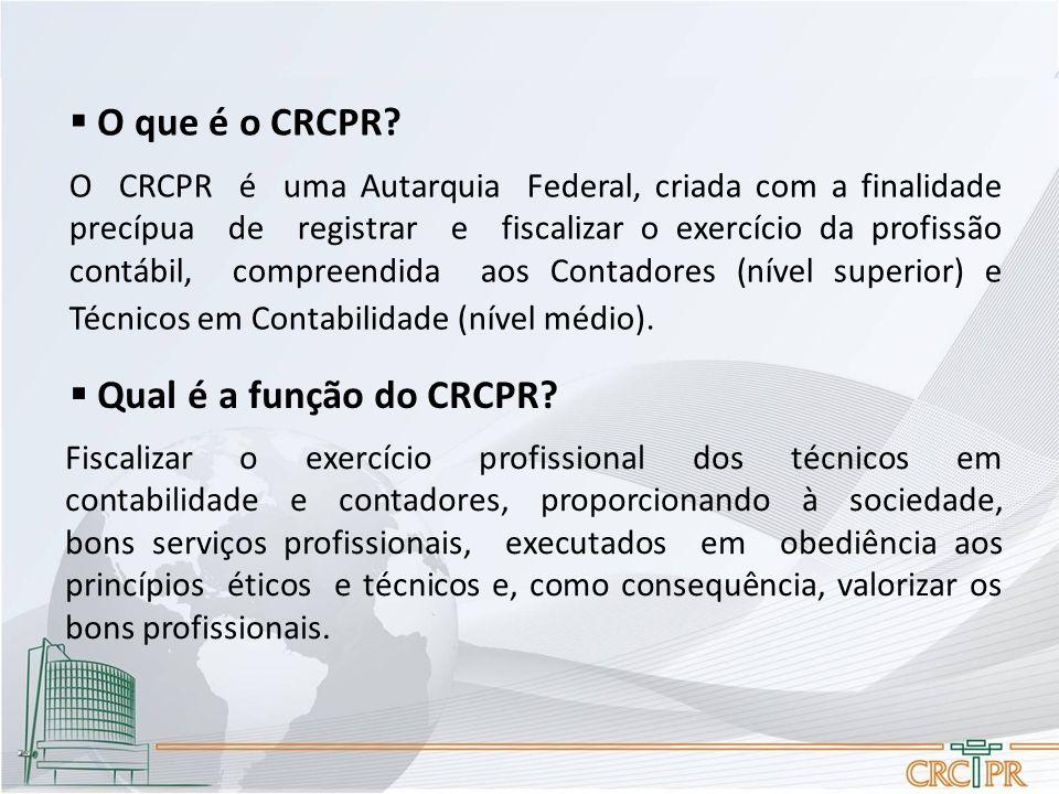 O CRCPR é uma Autarquia Federal, criada com a finalidade precípua de registrar e fiscalizar o exercício da profissão contábil, compreendida aos Contadores (nível superior) e Técnicos em Contabilidade (nível médio).