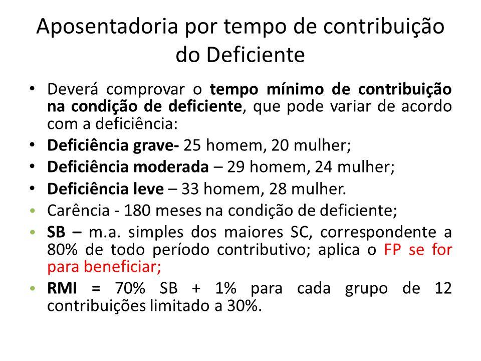 Aposentadoria por tempo de contribuição do Deficiente Deverá comprovar o tempo mínimo de contribuição na condição de deficiente, que pode variar de ac