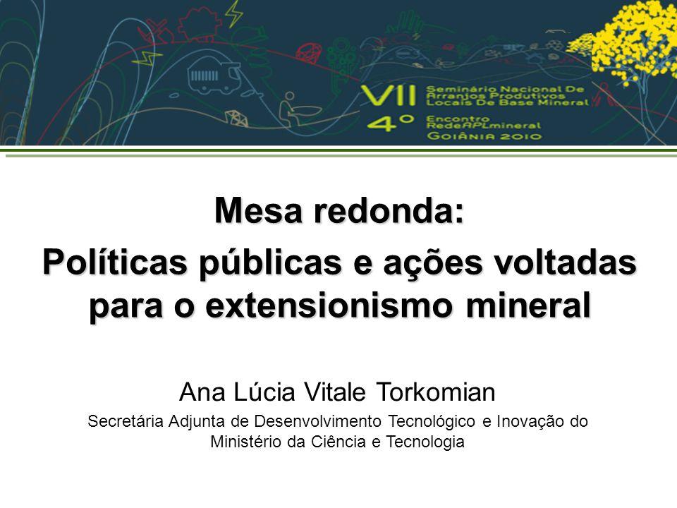 Ana Lúcia Vitale Torkomian Secretária Adjunta de Desenvolvimento Tecnológico e Inovação do Ministério da Ciência e Tecnologia Mesa redonda: Políticas públicas e ações voltadas para o extensionismo mineral