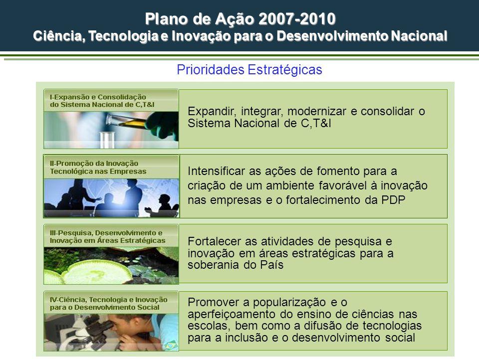 Prioridades Estratégicas Promover a popularização e o aperfeiçoamento do ensino de ciências nas escolas, bem como a difusão de tecnologias para a incl