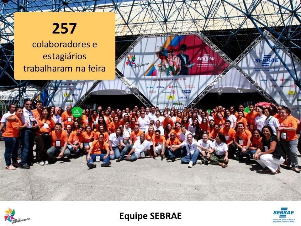 Equipe SEBRAE 257 colaboradores e estagiários trabalharam na feira