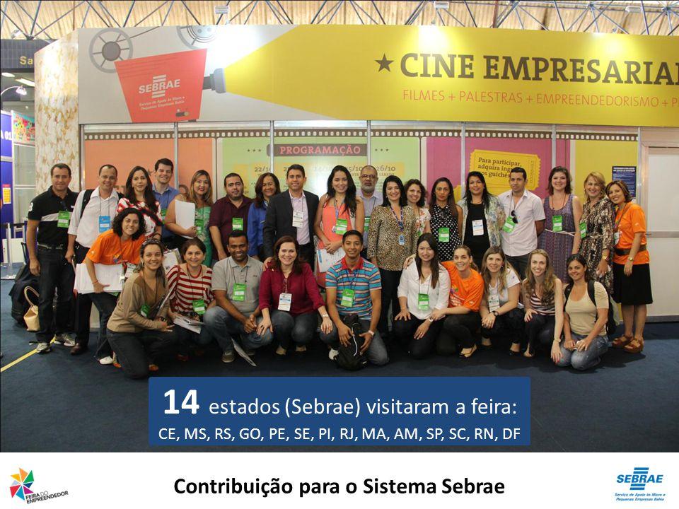 Contribuição para o Sistema Sebrae 14 estados (Sebrae) visitaram a feira: CE, MS, RS, GO, PE, SE, PI, RJ, MA, AM, SP, SC, RN, DF